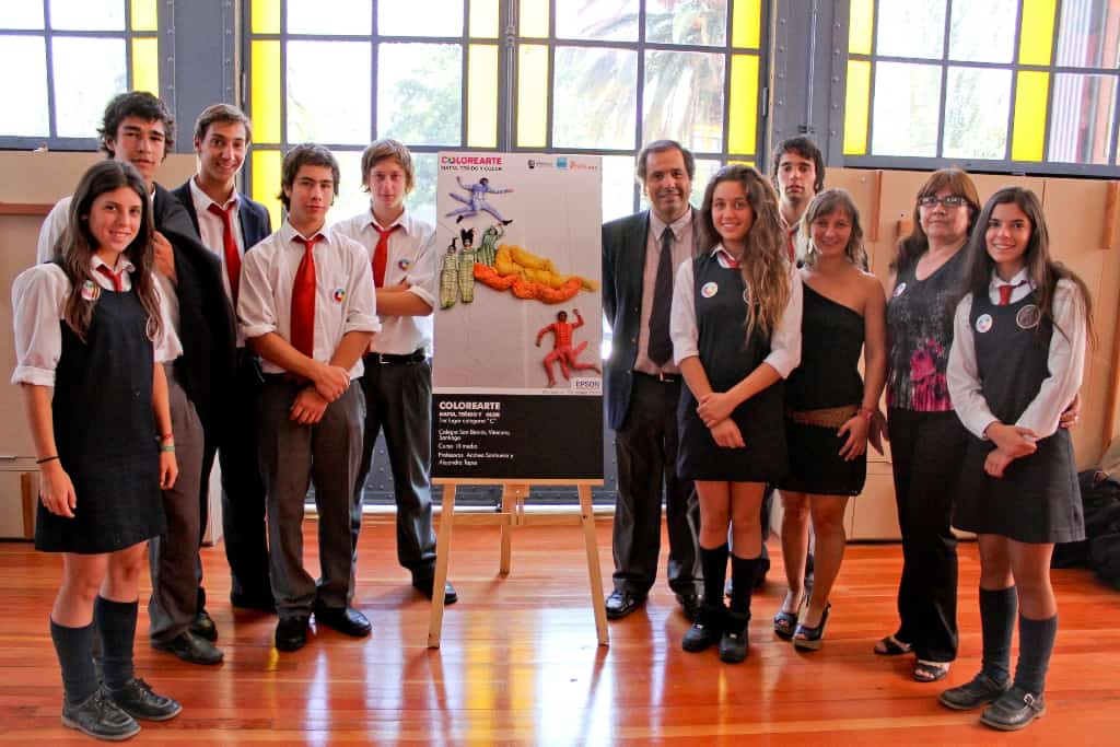 The winning team with their work,  3rd year workshop, San Benito School