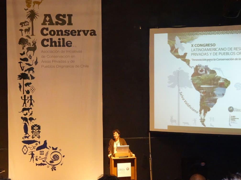 Elisa Corcuera (Así Conserva Chile) inaugurando el Congreso