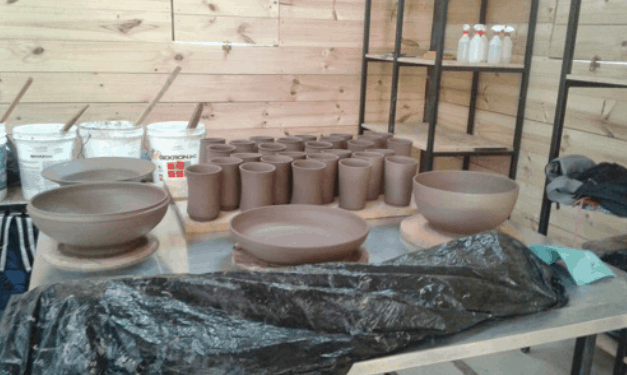 Stoneware ceramics made by students