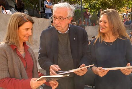 Pamela Hurtado, de Fundación Cosmos, Fernando Montes SJ y Madeline Hurtado de Fundación Mar Adentro