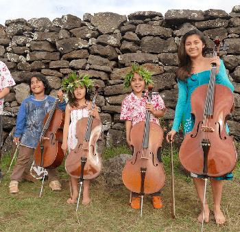 Algunos alumnos de cello de la Escuela de Música
