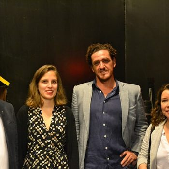 Eduardo Silva s.j., Maya Errázuriz from FMA, Eduardo Molina, Dean of the Faculty of Philosophy and Humanities and Alejandra Orbeta, Director of the Visual Arts Education Department