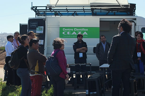 Our Active Teachers next to CEAZA's mobile lab in the El Culebrón Wetland workshop