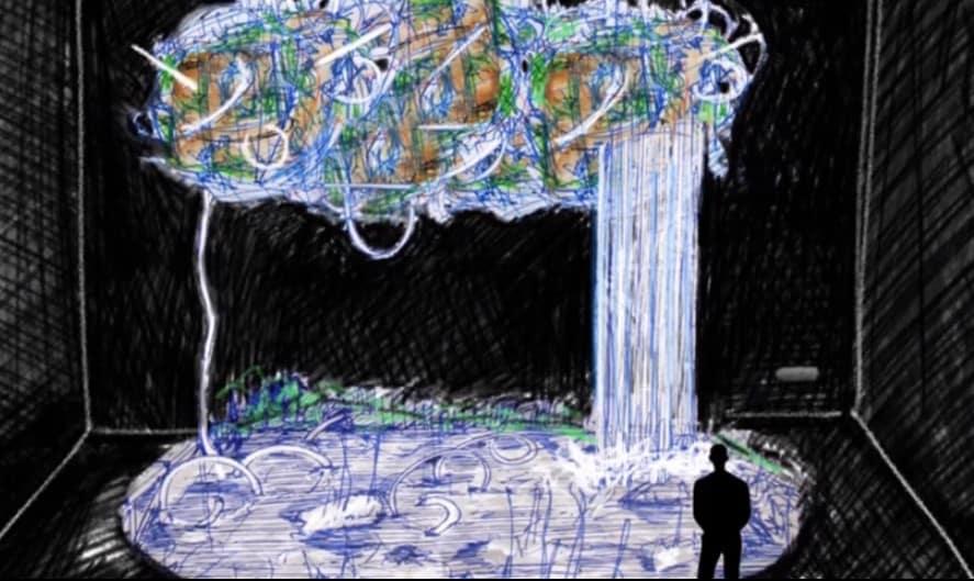 Boceto de obra artística de Máximo Corvalán Pincheira, que nace tras investigar sobre el Daño Foliar de la Araucaria