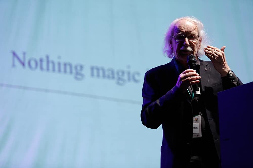 The famous italian neurobiologist Giacomo Rizzolatti on his conference: Discovering the Mirror Neurons and Empathy