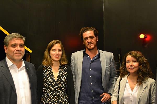 Eduardo Silva s.j., Maya Errázuriz from FMA, Eduardo Molina, Dean of the Faculty of Philosophy and Humanities and Alejandra Orbeta, Director of the Visual Arts Education Department