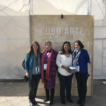 Madeline Hurtado, President of FMA together with Eve Crowley, Representative of FAO Chile, Special guest in representation of Fishing Communities in Guatemala and Beatriz Bustos O., Director of Art, Education and Culture of FMA in Cubo Arte