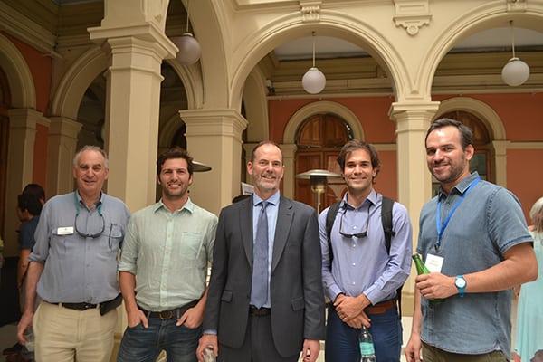 Sam Schuchat, the Fundación Rompientes Team - Luis Felipe Rodríguez and Juan Buttazzoni, with Carlos M. from Fundación Mar Adentro.